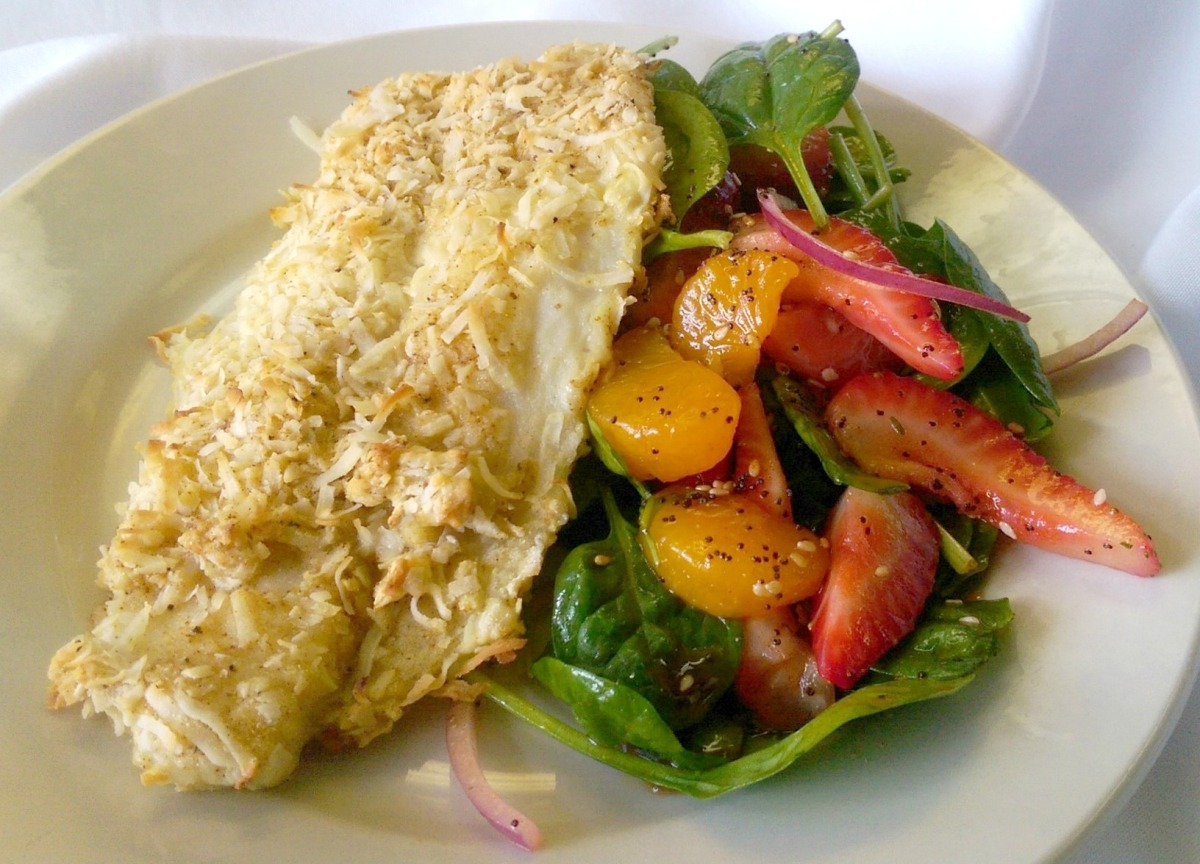 Coconut Crusted Mahi-Mahi with Strawberry Spinach Salad – Stalking ...
